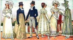 1815-1819 Die Frauen trug lange glockige Röcke.
