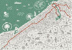 Dubai Subway map for Saatchi & Saatchi Dubai by Barcelona based freelance graphic designer and illustrator Jan Kallwejt