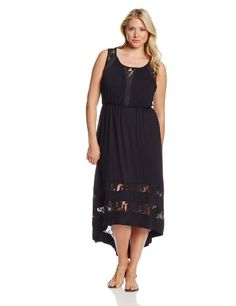 NY Collection Women's Plus-Size Hi-Lo Hem Sleeveless Maxi Dress with Lace Insets