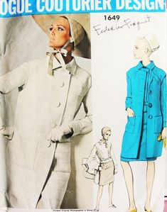 1960s FORQUET Mod Coat 2 Pc Dress Pattern VOGUE COUTURIER DESIGN 1649 Sleeveless Coat, Blouse Jacket, Slim Skirt Vintage Sewing Pattern