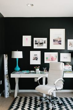 Black And White Desk, Contemporary, Den/library/office, JWS Interiors