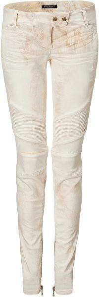 BALMAIN   White Tie-Dye Low Rise Jeans