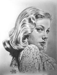 """Lauren Bacal"" - Rob Ebben, 2013 {figurative art beautiful female head celebrity woman face portrait pencil drawing} MrEyeCandy66.deviantart.com"
