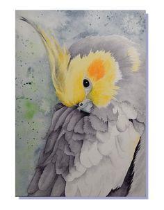 """ORIGINAL Watercolor Art Cockatiel Parrot Australian Bird Painting 5x7"""""""