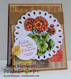 My Stamping Thyme: The Earth Laughs in Flowers. Digital Stamp by Power Poppy, card design by Dawn Burnworth.