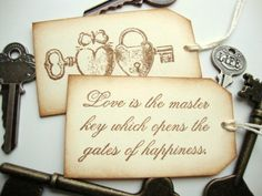 Wedding Favor Tags Skeleton Key Love Quote Vintage Style. $10.00, via Etsy.    keys keys keys! i think i'm digging this idea.. with some other rustic decorations since the wedding will be outside?