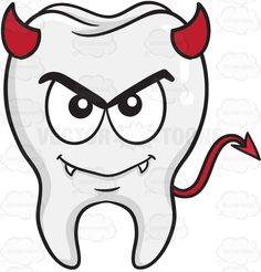 Devil Tooth Smiling With Fangs Horns And Tail #anatomicalstructure #bodilystructure #bodystructure #bone #bonestructure #calcified #calcium #chew #chewdownfood #chewing #clinic #complexbodypart #dentist #dentures #devil #devilish #evil #fiercelook #fluoride #grin #hardtissues #horns #mischievous #mouth #multipletissues #naughty #redhorns #redtail #singletooth #tail #teeth #tooth #toothwhitening #twohorns #white #whitestructure #whitening #vector #clipart #stock