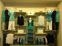Like the layout of the wall & the way they displayed tops with pants in the upper corners on standard hangers