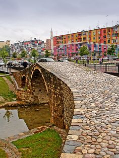 Tirana, Albania. The Tiranë river runs through the city of Tirana, as does the Lanë stream. (V)