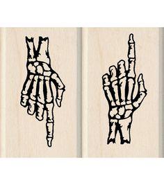 Inkadinkado® Mounted Rubber Stamp-Skeleton Hands