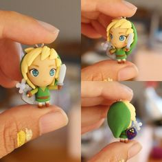 Link Inspired Chibi Polymer Clay Charm Necklace . Legend of Zelda Chibi…