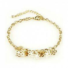 $3.15 Korea Style and Fashion Many Tiny Flower Embellished Gold Bracelet