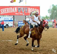 Photo by Ron Ritcher of 2014 Indian Relays Thursday night at Sheridan WYO Rodeo in Sheridan, Wyoming. See more of his great photos at Sheridan Media. Sheridan Wyoming, Relay Races, Thursday Night, Special People, Great Photos, Rodeo, Horn, Racing, Spaces