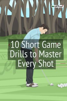 The fastest way to improve your scores? Improve your short game. But it will take some practice. Here are 10 Essential Short Game Drills to get your started. Short Game Golf, Golf Chipping Tips, Golf Putting Tips, Golf Practice, Golf Videos, Club Face, Golf Instruction, Golf Tips For Beginners, Golf Exercises