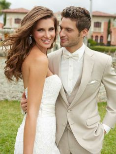 Classic grooms suits by Jean Aves from Allure Men Beige/off white. This isn't an ordinary day i dnt want him in a black tux Wedding Tux, Wedding Pics, Wedding Attire, Wedding Styles, Wedding Dresses, Casual Wedding, Beige Wedding, Wedding Ideas, Prom Dresses