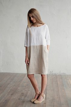 Colour block in white and gray dress for women. Loose-fit linen, plus size dress. White and gray linen tunic. Washed linen clothing for women. Linen Tunic Dress, Summer Dress, Mother Daughter Outfits, Colorblock Dress, Gray Dress, Plus Size Dresses, Clothes For Women, Colour Block, Loose Fit