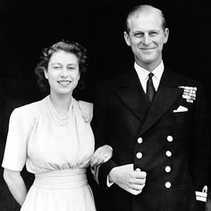 ELIZABETH & PHILIP  After 60 years, some things have changed in the British monarchy! William's grandmother Queen Elizabeth and grandfather Prince Philip put public duty first, standing at firm attention at the announcement of their engagement at Buckingham Palace in July 1947.