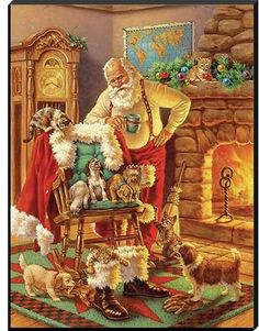 The Holiday Aisle 'Santa and Friends' Framed Graphic Art Print Christmas Scenes, Christmas Pictures, Christmas Art, Vintage Christmas, Xmas, Christmas Feeling, Santa Pictures, German Christmas, Christmas Store