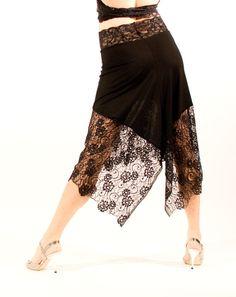 Black Asymmetric Tango Skirt 7002 от PanTango на Etsy
