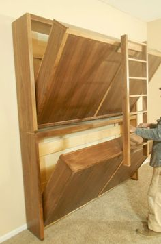 Ted's Woodworking Plans - Murphy Bunk Bed Plans - WoodWorking Projects Plans Get A Lifetime Of Project Ideas & Inspiration! Step By Step Woodworking Plans Cama Murphy, Murphy Bunk Beds, Bunk Bed Plans, Bunk Beds Built In, Bunk Beds With Stairs, Murphy Bed Plans, Kids Bunk Beds, Queen Bunk Beds, Triple Bunk Beds