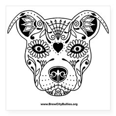 Sugar Skull Black Sticker on CafePress.com