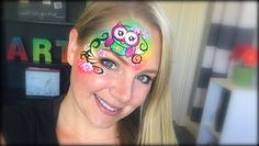 Owl Face Painting using Krvaline Bright Rainbow