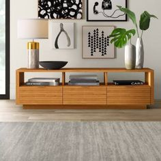 51 TV Stands And Wall Units To Organize And Stylize Your Home Cubby Shelves, Open Shelving, Adjustable Shelving, Mounted Tv, Entertainment Center, Walnut Tv Stand, Media Storage, Wood Veneer, Tvs
