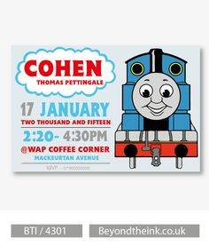 Personalised Thomas The Tank Engine Invitations.  Printed on Professional 300 GSM smooth card with free envelopes & delivery as standard. www.beyondtheink.co.uk