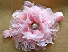 Pink Shabby Chic flower headband Rozachka1