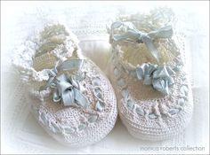antique crocheted baby booties ... c. 1915