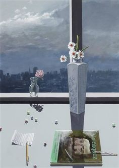 Paul Wonner - Study of Flowers with Art Book, Marbles and View of San Francisco; 1984. Acrylic on paper, 40 x 28 inches (101.6 x 71.1 cm). Private Collection