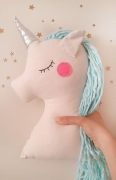 Unicorn pillow plush toy mint unicorn nursery decor with