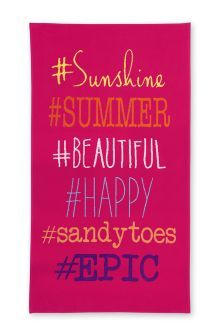 Buy Pink Hashtag Beach Towel from the Next UK online shop