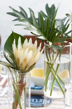 modern tropical leaf tabletop arrangement - Google Search