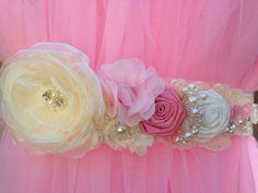 Wedding Sash Bridal sash wedding belt Satin Flowers by Melodylinen