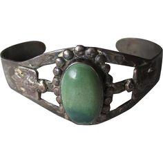 "Fabulous Vintage ""Fred Harvey"" Style Navajo Sterling Turquoise Bracelet"