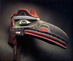 Kwakiutl Raven mask collected at Tsaxis, Vancouver Island by George Hunt, 1901 -- American Museum of Natural History