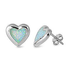 """Custom Designer """"Blue Opal Luxury Heart"""" .925 Italian Sterling Silver Small Post Stud Earrings Fashion for Unisex, Women, Teens, Girls - Nickel Free (Pierced Ears) THE ICE EMPIRE JEWELRY, LLC-$19.95 http://www.amazon.com"""
