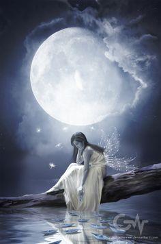 beautiful pics of loneliness Foto Fantasy, Fantasy Magic, Fantasy Girl, Fairy Pictures, Moon Pictures, Angel Pictures, Beautiful Fantasy Art, Beautiful Moon, Beautiful Fairies