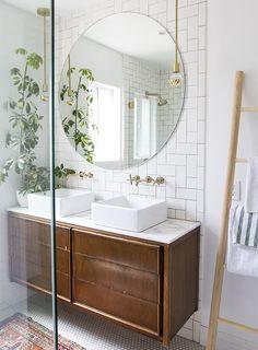 Bathroom Mirror Ideas - master bathroom renovation // before & after // sarah sherman samuel Chic Bathrooms, Tiled Bathrooms, Small Bathrooms, Luxury Bathrooms, Decorating Bathrooms, Hotel Bathrooms, Upstairs Bathrooms, Decorating Tips, Vintage Dressers