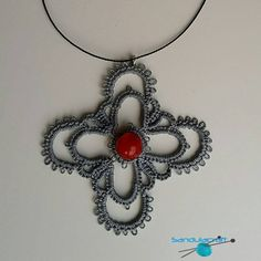 Tatted crochet necklace lacy cross with red bead grey handmade tatting delicate other colours available crucifix cotton thread