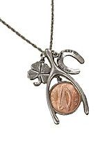 Lucky Irish Penny Wishbone Pendant   Blair