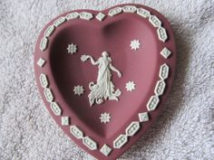 Wedgwood Jasperware White on Crimson/wine heart shaped plate