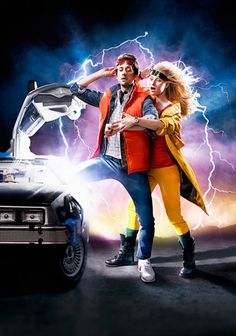 """""""Back to the Future"""" themed engagement shoot. Just brilliant! (Or should we say """"back to the past""""?)"""