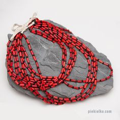 Multistrand Boho Necklace - black & red. Eleven strands of black and red Kuchi beads from Pakistan.