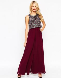 ASOS Jumpsuit with Palazzo Pants and Embellished Over Layer UK 14/EU 42/US 10