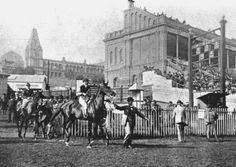 Parade on the Race Course showing the Victorian Grandstand at Alexandra Palace, July 1896 Alexandra Park, Alexandra Palace, Vintage London, Old London, North London, Courses, Back In The Day, Old Photos, Street View