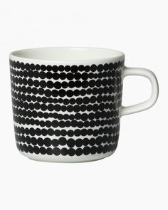 In the Räsymatto pattern on this Oiva coffee cup you can see a rag rug placed on the floor of a garden cottage, with rays of sun dancing on its figures. The cup is made of dishwasher, oven, microwave and freezer proof white stoneware. Marimekko, Garden S, Garden Cottage, Dots Design, Dinnerware, Stoneware, Coffee Cups, Dishwasher, Thailand