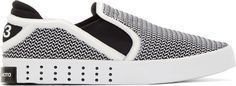 Y-3 Black and White Elastic Mesh Laver Sneakers