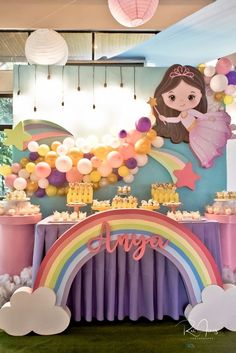 Anya's Whimsical Fairies and Unicorns Themed Party – Dessert spread 7th Birthday Party For Girls Themes, Rainbow First Birthday, Sunshine Birthday Parties, 1st Birthday Party For Girls, Unicorn Themed Birthday, Unicorn Birthday Parties, Princess Birthday, Rainbow Party Decorations, Birthday Party Decorations